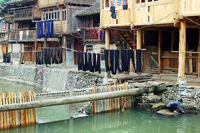 Various shades of indigo-dyed cloth being aired along the river front in the Dong village