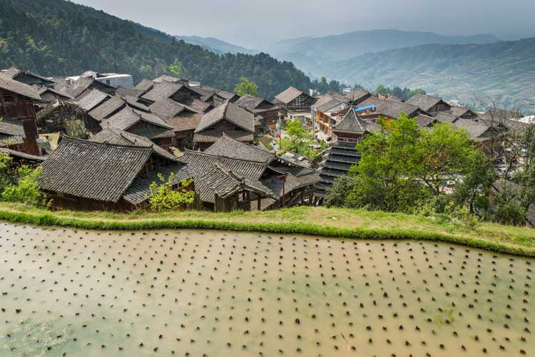 Tang'an village in the backdrop of a terraced field, Guizhou, China