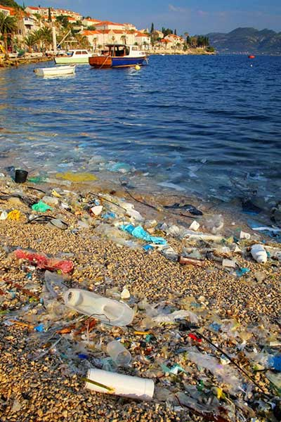 Beach polluted with plastic garbage due to sea currents, Korcula Island, Croatia